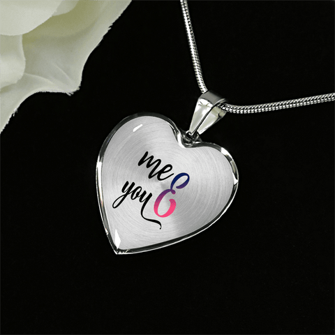 You and Me Heart Necklace Add Engraving Gift Box