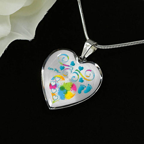 Image of baby boy heart personalized necklace