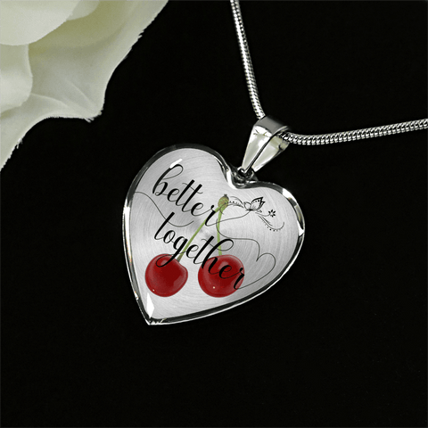 Image of Heart shape better together 2 cherries silver necklace