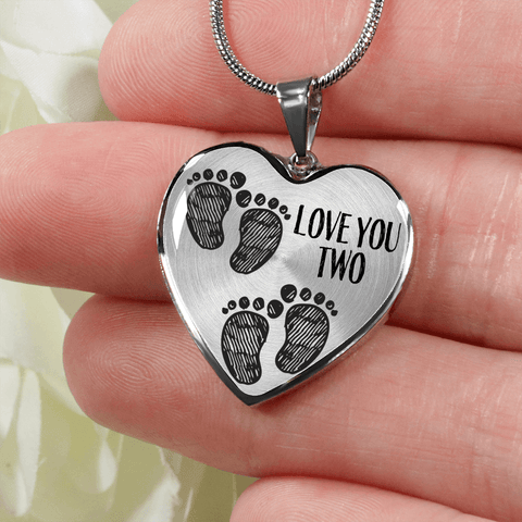 mother of twins gift baby footprints heart necklace add inscription