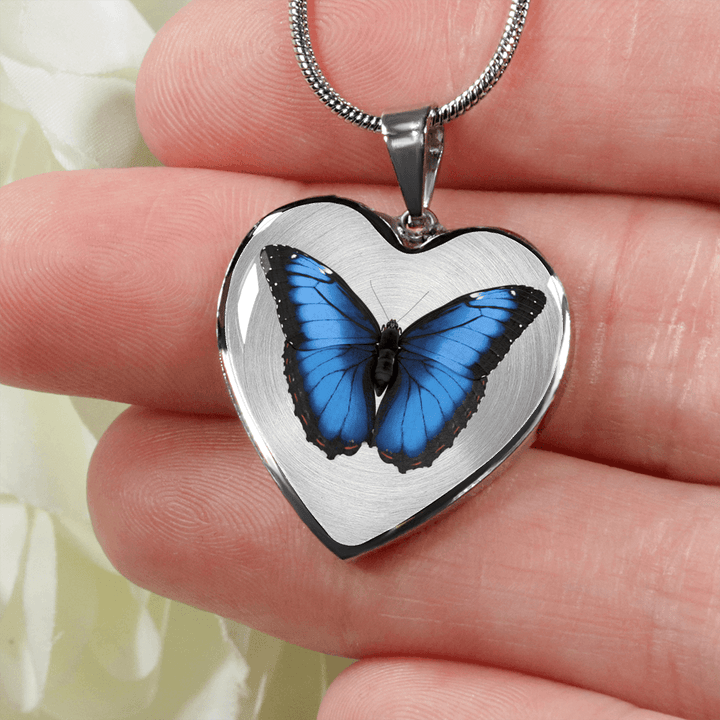 Blue butterfly heart shaped necklace