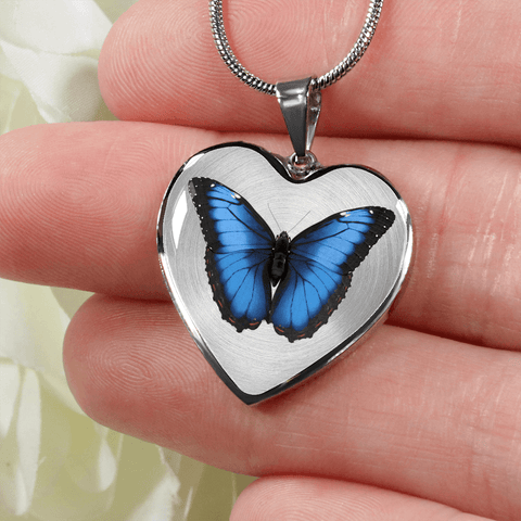 Blue Butterfly Heart Shape Bracelet or Necklace