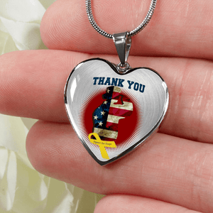 Thank You Female Military Veteran Heart Necklace and Bracelet Optional Inscription