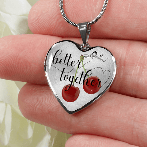 Heart shape better together 2 cherries silver necklace