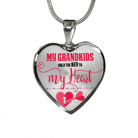 Image of My Grandkids Are the Key to My Heart Silver Heart-Shaped Necklace