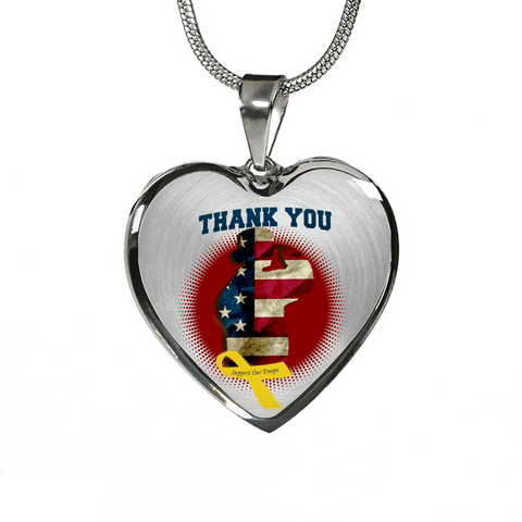 Image of Thank You Female Military Veteran Heart Necklace and Bracelet Optional Inscription