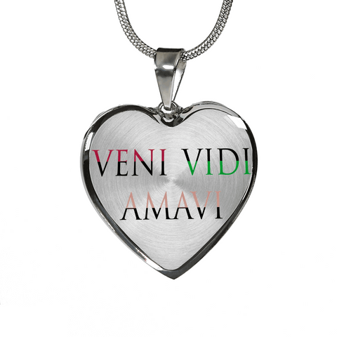 Veni Vidi Amavi We Came We Saw We Loved Heart Necklace and/or Bracelet With Optional Inscription