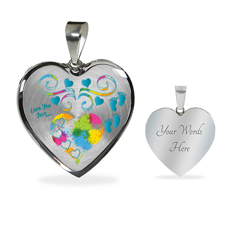 Twin Baby Boys Personalized Heart Pendant Necklace