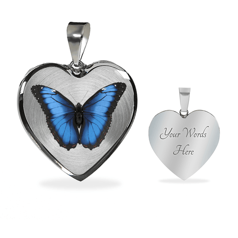 Image of butterfly necklace add message inscription
