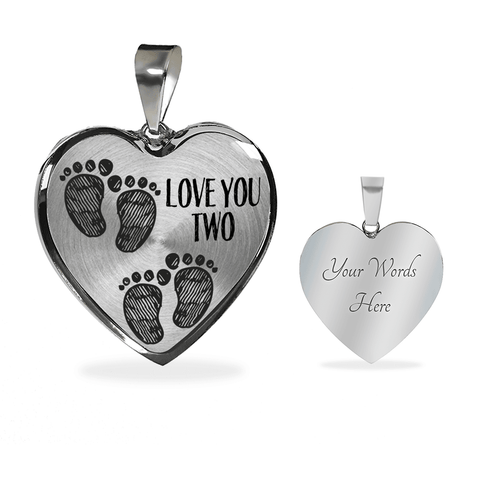 Mother of Twins Baby Footprints Necklace and Bracelet
