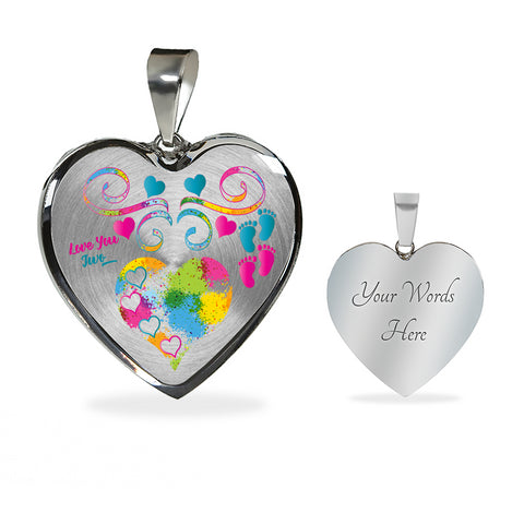 Twin Baby Boy and Girl Personalized Heart Necklace