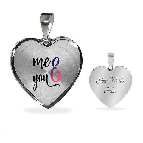 Image of You and Me Heart Necklace Add Engraving