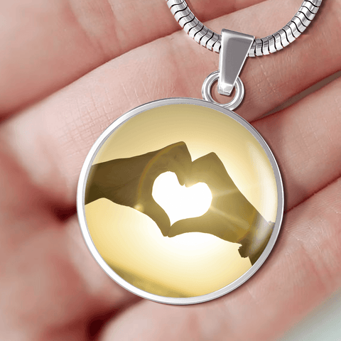 Image of Hands and Heart Couples Round Necklace and Bracelet