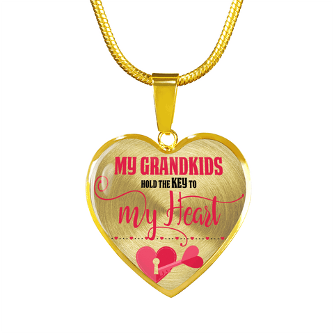 Image of My Grandkids Are the Key to My Heart Gold Heart-Shaped Necklace