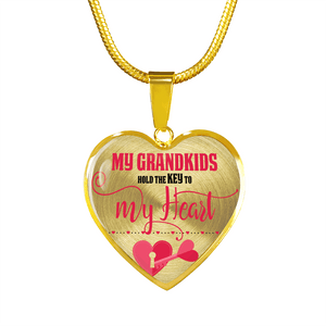 My Grandkids Are the Key to My Heart Gold Heart-Shaped Necklace