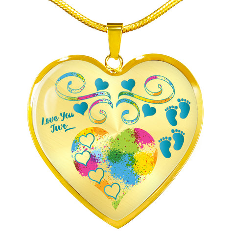 twin baby boys personalized heart necklace
