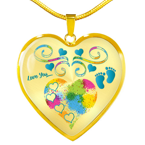 baby boy heart personalized necklace gold