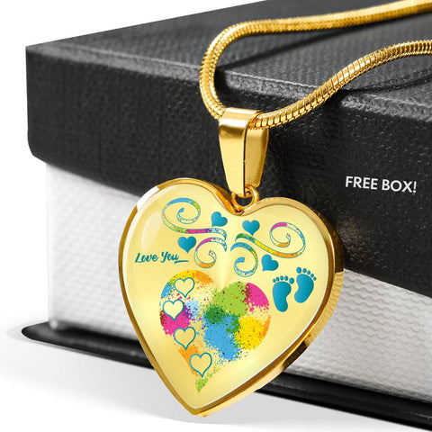baby boy heart personalized gold necklace and gift box