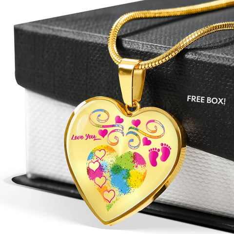 Image of Baby Girl Footprints Personalized Heart Pendant Necklace