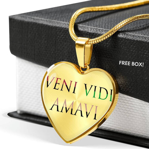 Image of Veni Vidi Amavi We Came We Saw We Loved Heart Necklace and Bracelet With Optional Inscription
