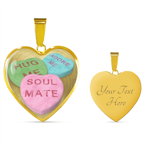 candy hearts gold necklace gift add inscription