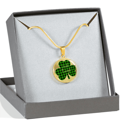 Image of Lucky Irish Enough Green Buffalo Plaid Shamrock Gold Necklace Gift Boxed