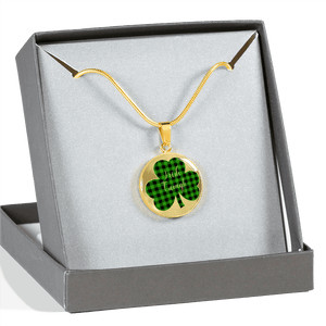 Lucky Irish Enough Green Buffalo Plaid Shamrock Gold Necklace Gift Boxed