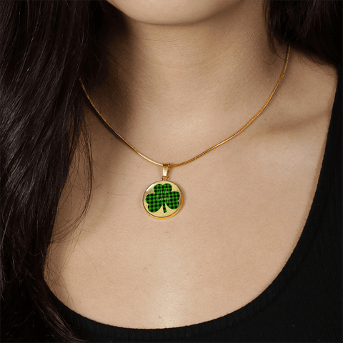 Image of Lucky Irish Enough Green Buffalo Plaid Shamrock Gold Necklace