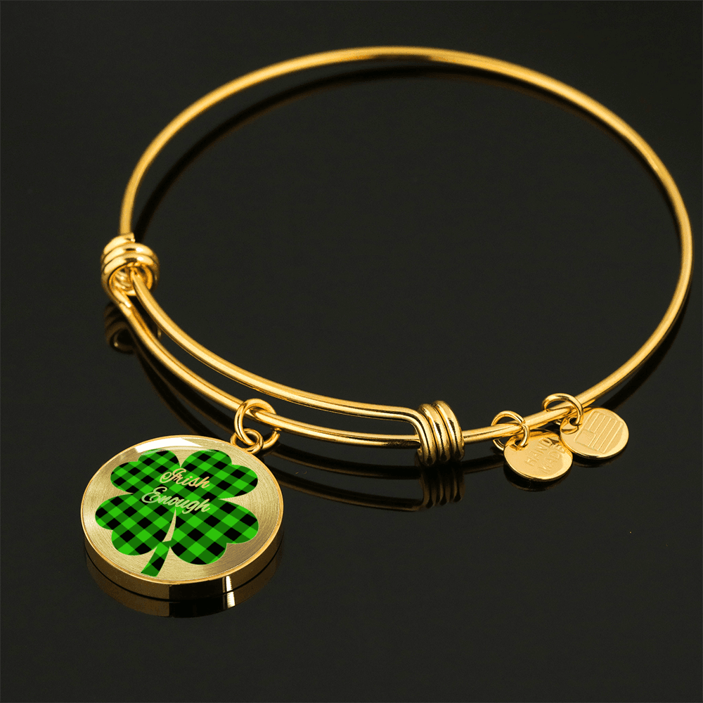 Lucky Shamrock Irish Enough Round Gold Necklace and Bracelet