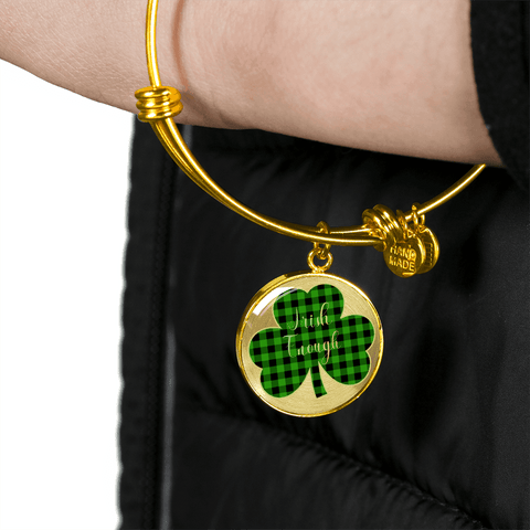 Image of Lucky Irish Enough Green Buffalo Plaid Shamrock Gold Bangle Bracelet
