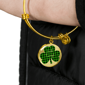 Lucky Irish Enough Green Buffalo Plaid Shamrock Gold Bangle Bracelet