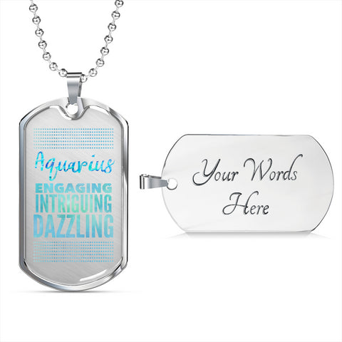 Image of Aquarius Dog Tag Pendant Necklace