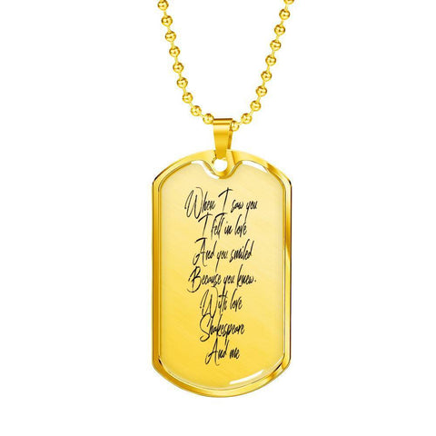 Romantic Shakespeare Quote Dog Tag Necklace