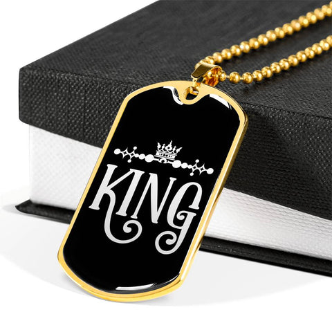 Image of king dog tag personalized pendant gift box