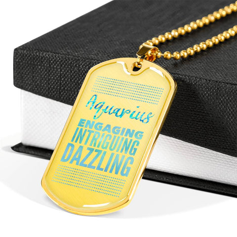 Aquarius Dog Tag Pendant Necklace