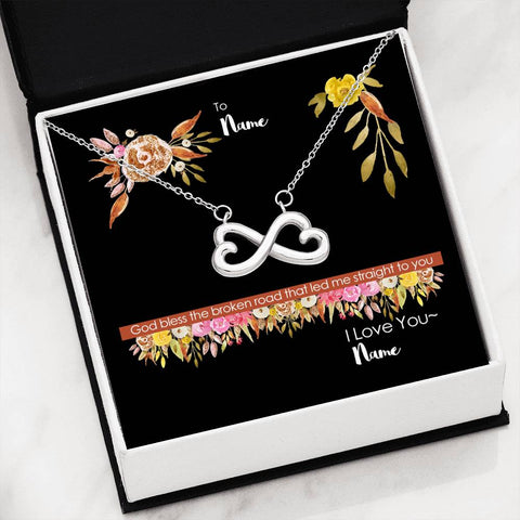 Image of God Bless the Broken Road Personalized Message Card and Infinity Necklace