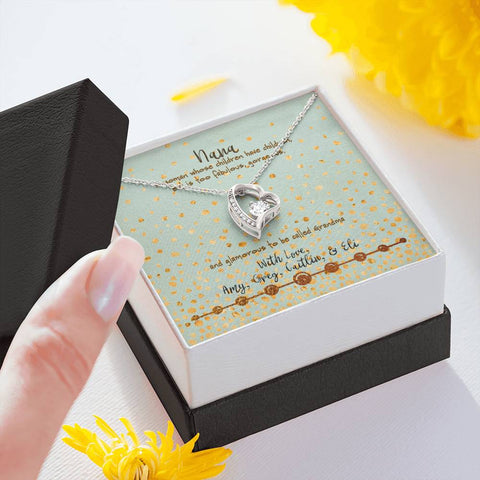 nana personalized gift message card silver heart necklace