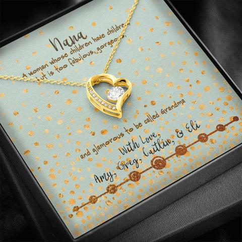nana gift personalized message card with necklace in gift box