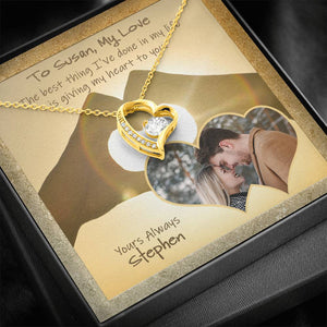 Personalized Photo Message Card with Heart Necklace