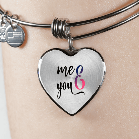 Image of You and Me Heart Bracelet Add Engraving