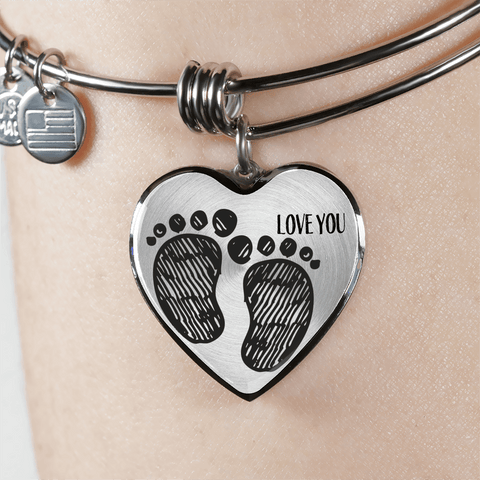 New Mother Necklace Bracelet Baby Footprints