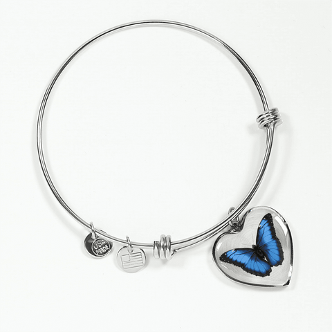 Image of Blue butterfly heart shaped bracelet