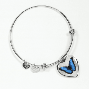 Blue butterfly heart shaped bracelet
