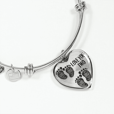 mother of twins gift baby footprints heart bracelet add inscription