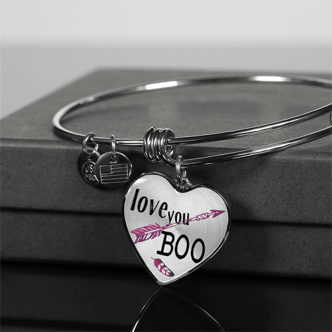 Love You Boo Couples and BFF Heart Necklace and Bracelet Optional Inscription