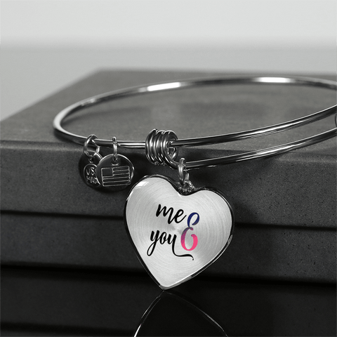 You and Me Heart Bracelet Add Engraving Gift Box