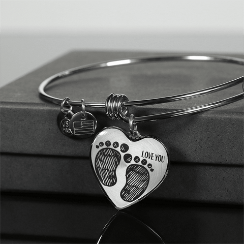 Image of New Mother Necklace Bracelet Baby Footprints