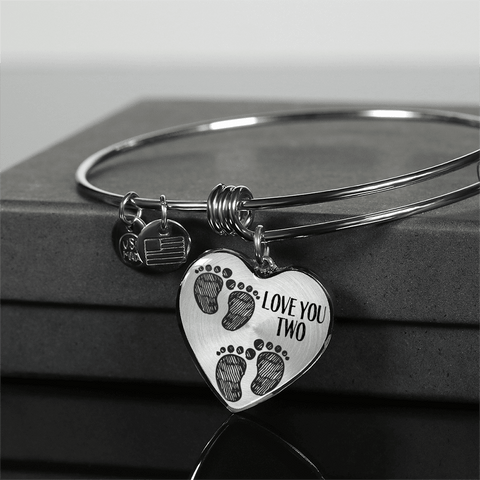 Image of mother of twins gift baby footprints heart bracelet add inscription
