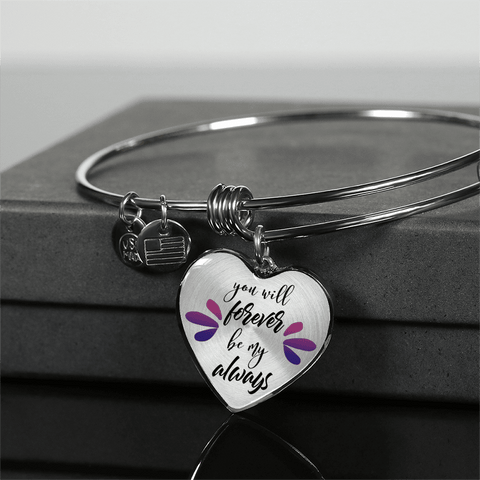 Image of You Will Forever Be My Always Heart Necklace and Bracelet with Optional Inscription