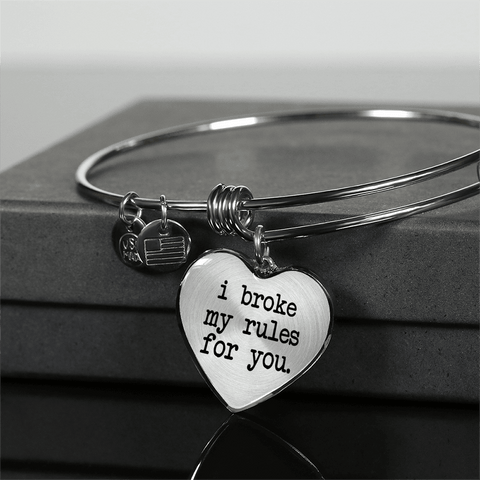 Image of I Broke My Rules for You Heart Necklace and Bracelet with Option to Add Inscription